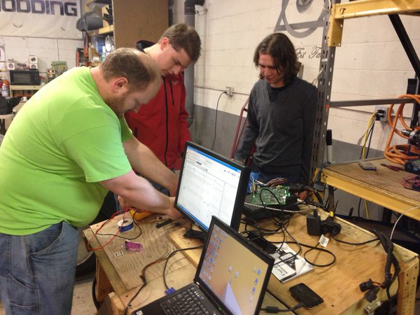 Nate, Byron, and Kyle working on smart hack